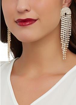 Rhinestone Studded Drop Earrings - 1135029367071