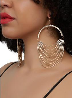 Layered Rhinestone Fringe Drop Earrings - 1135029367190