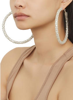 Oversized Rhinestone Hoop Earrings - 1135029367350