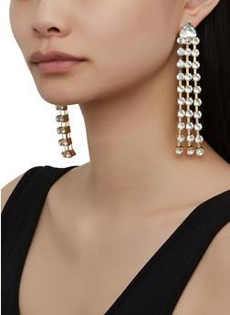 Rhinestone Fringe Chandelier Earrings - 1135029369034