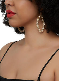 Rhinestone Hoop Drop Earrings - 1135029369042