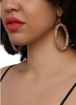 Rhinestone Hoop Drop Earrings - 1135029369042