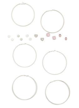 Set of 9 Assorted Stud and Hoop Earrings - 1135035150420
