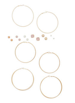 Set of 9 Assorted Stud and Hoop Earrings - 1135035150420
