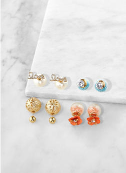 Set of 4 Rhinestone Reversible Stud Earrings - 1135035152504