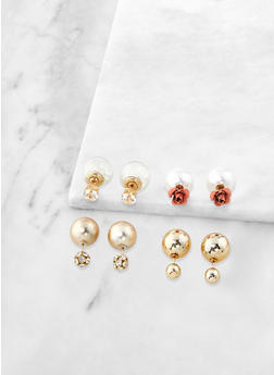 Set of 4 Rhinestone Reversible Stud Earrings - 1135035152504