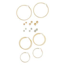 Rhinestone Stud and Hoop Earrings Set - 1135035153200