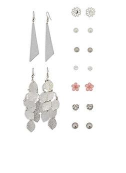 Set of 9 Stud and Drop Earrings - 1135035154329