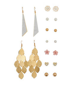 Set of 9 Stud and Drop Earrings - 1135035154329