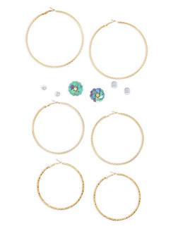 Trio Of Large Hoop and Stud Earrings - 1135035154354
