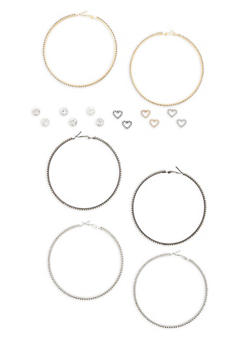 Assorted Stud and Large Hoop Earrings Set - 1135035155336