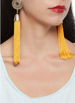 Beaded Disc Tassel Earrings - 1135035155351
