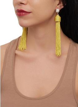 Rhinestone Tassel Drop Earrings - 1135035156117