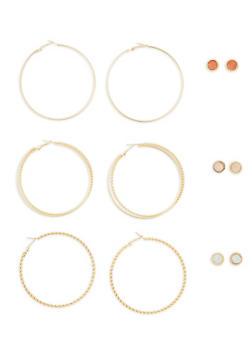 Set of Large Hoop and Rhinestone Stud Earrings - 1135035157387