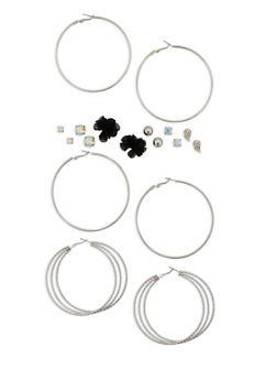 Assorted Stud and Hoop Earrings Set - 1135035157407