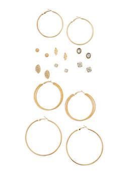 Rhinestone Studs and Hoop Earrings Set - 1135035157702