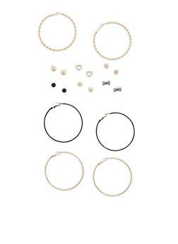 Set of 6 Metallic Rhinestone Stud and 3 Hoop Earrings - 1135035157927