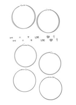 Assorted Stud and Glitter Hoop Earrings Set - 1135035158098