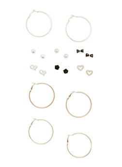 Set of 3 Glitter Hoop and 6 Faux Pearl Stud Earrings - 1135035158321