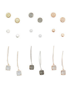 Set of Threader and Stud Earrings - 1135035159169