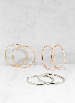 Tri Color Hoop Earring Trio - 1135057690213