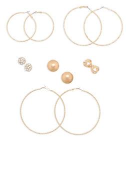 Set of 6 Assorted Hoop and Stud Earrings - 1135057693919