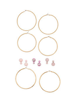 Set of 6 Large Hoop and Reversible Stud Earrings - 1135057694731