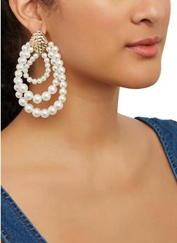Faux Pearl Drop Earrings - 1135057695360