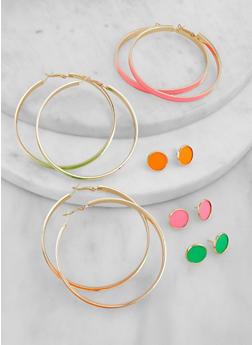 Neon Hoop and Stud Earrings Set - 1135057696035