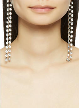 Double Rhinestone Linear Drop Earrings - 1135057699273
