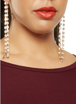 Double Rhinestone Linear Drop Earrings - 1135057699273