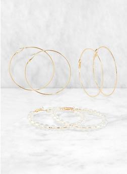 Beaded and Metallic Hoop Earring Trio - 1135057699480