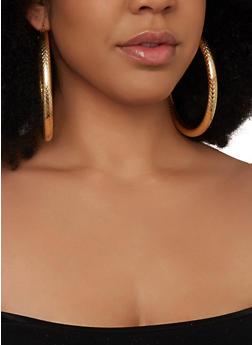 Assorted Textured Metallic Hoop Earring Trio - 1135057699649