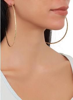 Skinny Oversized Hoop Earring Trio - 1135057699987