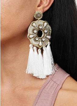 Beaded Tassel Chandelier Earrings - 1135062810056