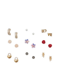 Set of 9 Stud Earrings - 1135062810549