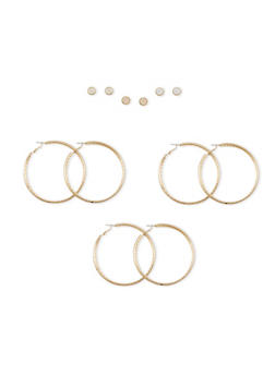 Set of 6 Glitter Hoop and Stud Earring Set - 1135062812601