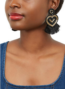 Beaded Heart Fringe Earrings - 1135062814550