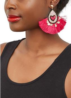 Heart Beaded Fringe Earrings - 1135062815124