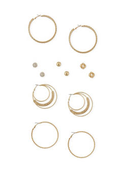 Set of 6 Multi Textured Studs with Twist and Mesh Hoop Earrings - 1135062816019