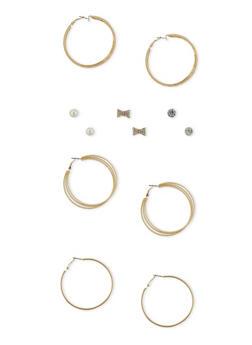 Set of 6 Assorted Rhinestone Stud and Multi Textured Hoop Earrings - 1135062816456