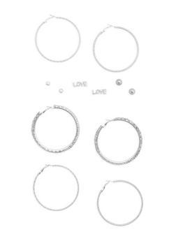 Set of 6 Hoop and Stud Earrings - 1135062817204