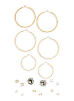 Set of 9 Flower Stud Hoop Earrings - 1135062817407