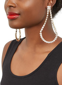 Rhinestone Teardrop Earrings - 1135062817426