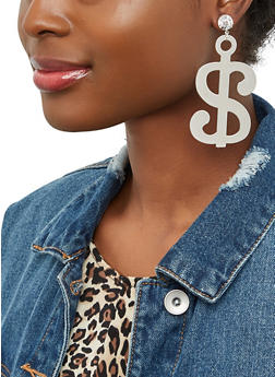 Dollar Sign Drop Earrings - 1135062817727