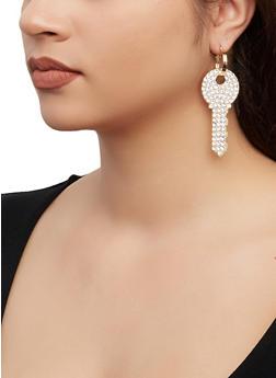 Rhinestone Key Hoop Earrings - 1135062817866