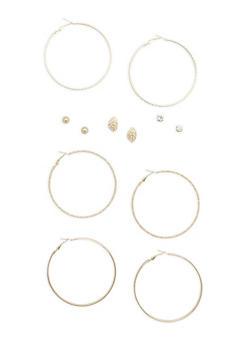 Set of 6 Rhinestone Stud and Glitter Hoop Earrings - 1135062818055