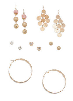 Assorted Glitter Metallic Earrings Set - 1135062819524