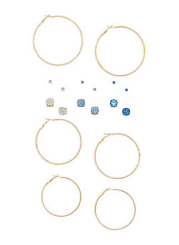 Set of 9 Hoop and Rhinestone Studded Earrings - 1135062819602