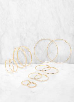 Set of 6 Multi Size Hoop Earrings - 1135062920094